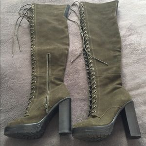 ALDO Olive Green Over the Knee Lace Up Boots